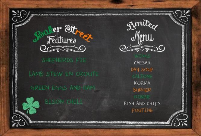 baker street limited menu