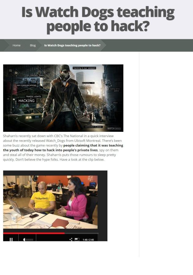 HackerNest Watch Dogs Blog